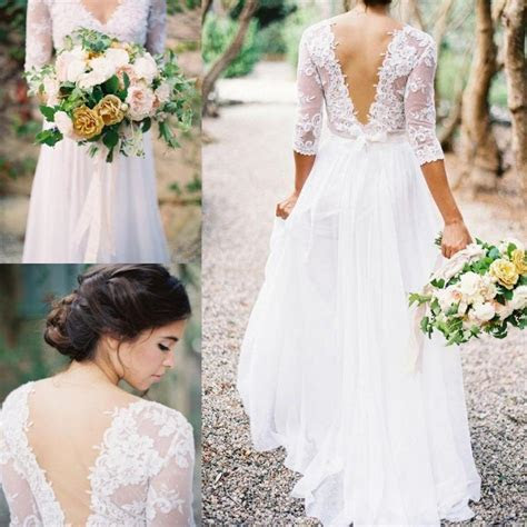 2016 Lace Chiffon Bridal Dresses Boho Lace Dress V neck 3
