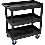 Luxor EC111HD-B 3-Shelf High-Capacity Tub Cart