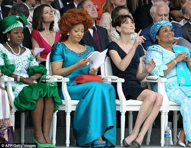 ) First ladies from Congo-Brazaville Antoinette Sassou Nguesso,  Cameroon Chantal Biya, France Carla Bruni-Sarkozy