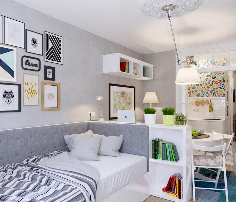 chambre salon lit gris meuble rangement bas
