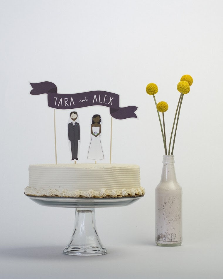 Cake Topper Set - Custom Cake Banner No. 2 / Bride and/or Groom Cake Toppers