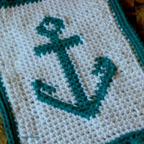 Boat Anchor Crochet Tapestry Art Decor Fringed Mat by RSS Designs In Fiber