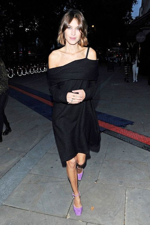 Le Fashion Blog Alexa Chung Celebrity Style Square Toed Purple Suede Heels Off The Shoulder Black Dress Via Who What Wear