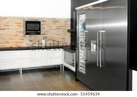Modern Kitchen Interior With Very Big Fridge Stock Photo 51459634 ...