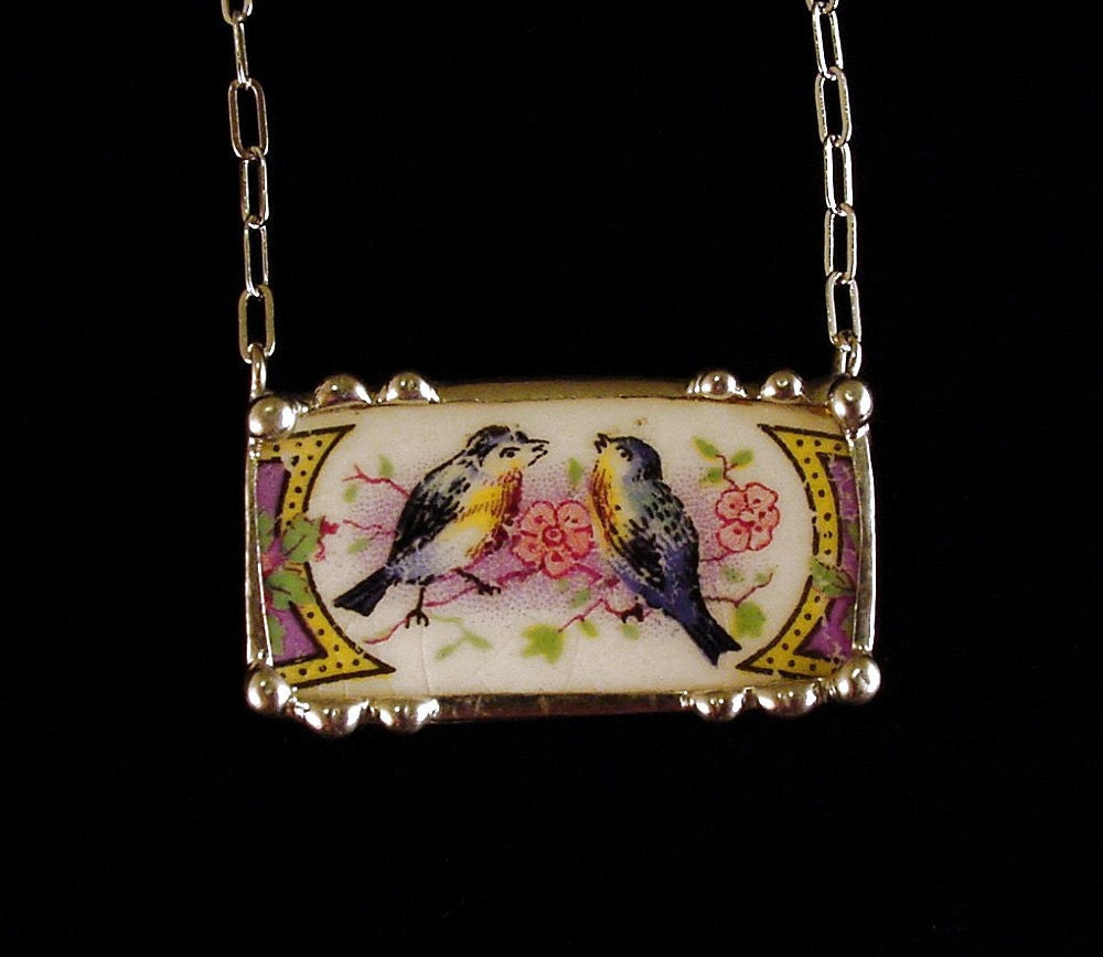 Broken china jewelry necklace antique sweet bluebirds made from a broken plate