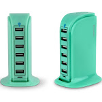 Aduro PowerUp 6 Port USB Home Charging Station Turquoise
