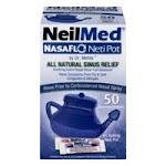 NeilMed NasaFlo Neti Pot Sinus Relief with Premixed Packets - 50 packets