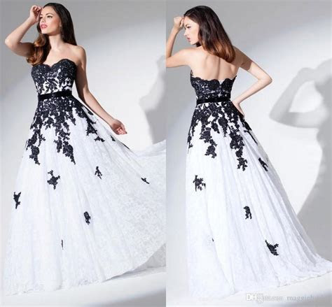 White And Black Wedding Dresses Lace   Dresscab