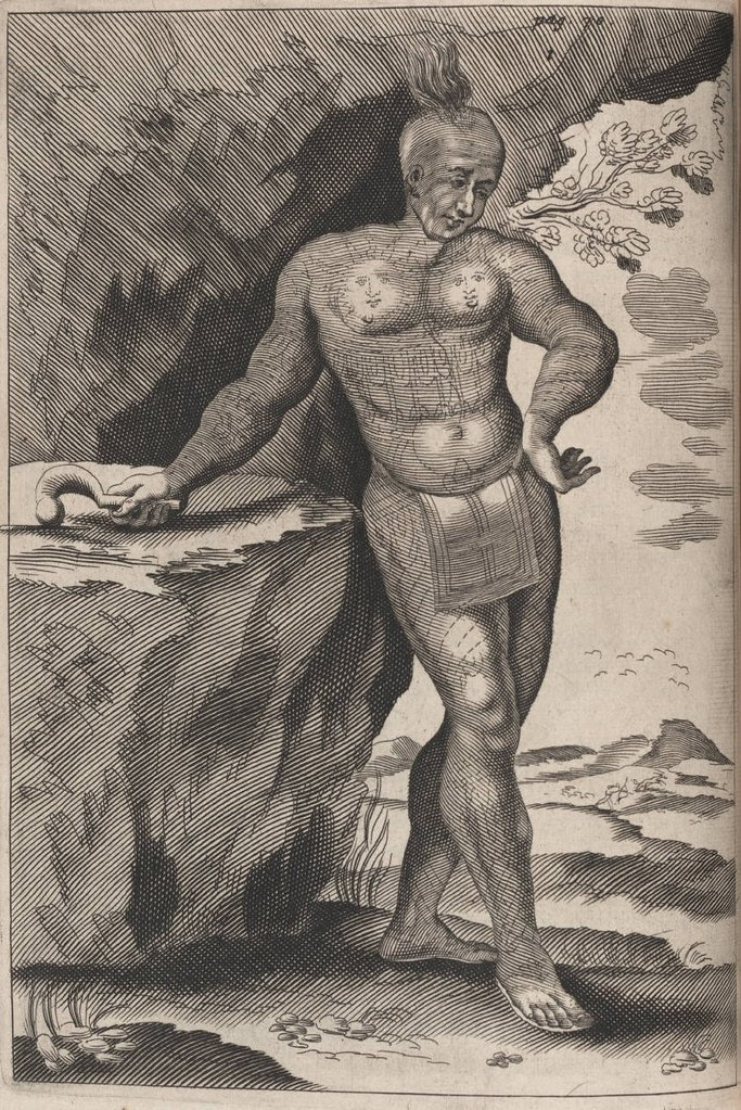 Engraving of a heavily tattooed North American Indian wearing a loincloth