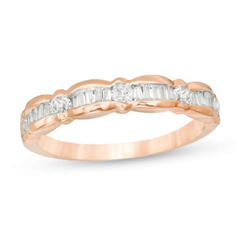 1/3 CT. T.W. Baguette and Round Diamond Scallop Wedding