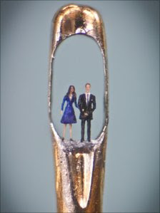 Willard Wigan painted the figures of Kate Middleton and Prince William with an eyelash