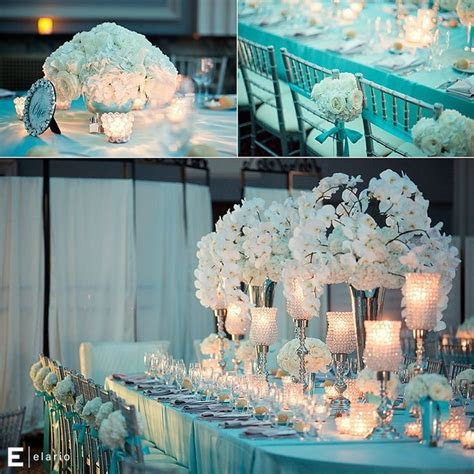 Tiffany Blue Themed Wedding, white orchid centerpiece
