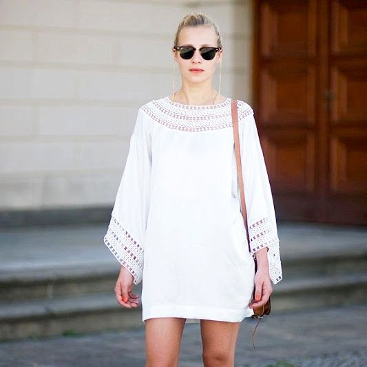Le Fashion Blog Summer Street Style White Dress Wide Sleeves Tunic Ray Ban Clubmaster Sunglasses Chain Saddle Bag Via Vanessa Jackman photo Le-Fashion-Blog-Summer-Street-Style-White-Dress-Eyelet-Long-Sleeves-Clubmaster-Sunglasses-Chain-Saddle-Bag-Via-Vanessa-Jackman.jpg