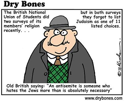 Dry Bones cartoon, antisemitism, NUS, Judaism, Jews, UK, Britain, students, academia,