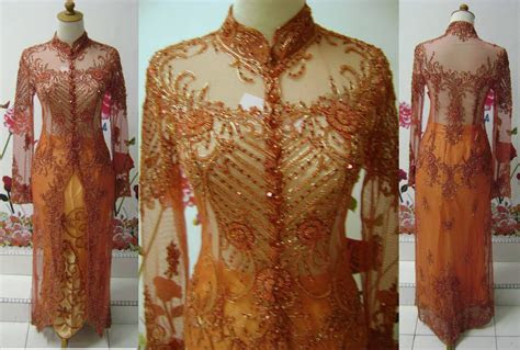 baju pengantin kebaya sulam kebaya indah oren labuh
