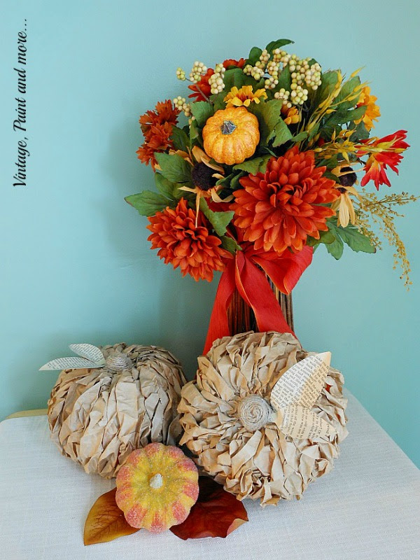 Twisted Paper Pumpkins by Vintage Paint and More