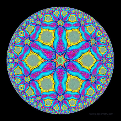 Geometric Art: Hyperbolic Kaleidoscope of problem 1050 using iPad Apps