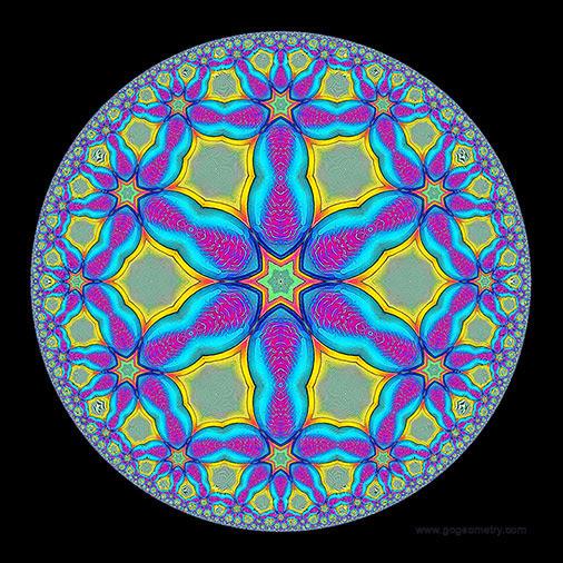 Geometric Art: Hyperbolic Kaleidoscope of problem 1050 using iPad Apps