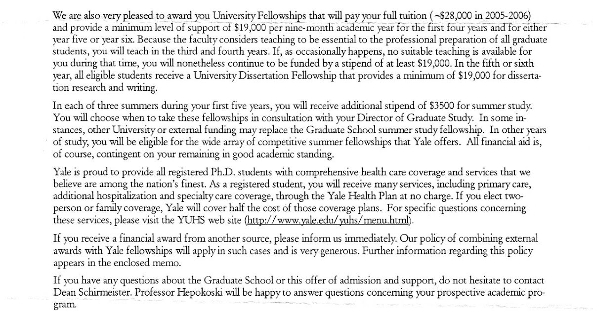 Application Form Application Letter Yale