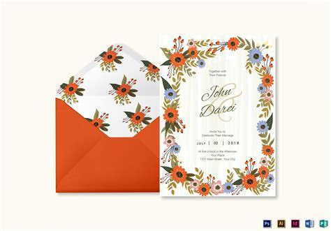 Summer Floral Wedding Invitation Card Design Template in