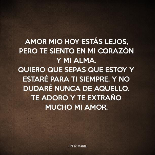 Cartel Para Amor Mio Hoy Estas Lejos Pero Te Siento En Mi Corazon