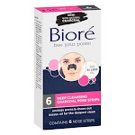 Biore Deep Cleansing Charcoal Pore Nose Strips, With Natural Charcoal - 6 ea