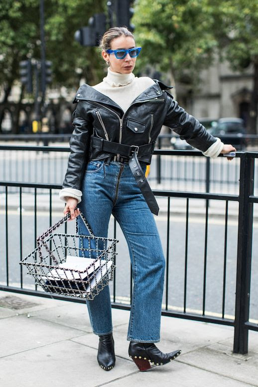 Le Fashion Blog Blue Sunglasses Cream Turtleneck Biker Leather Jacket High Waist Denim Studded Black Boots Via Sandra Semburg Irina Lakicevic