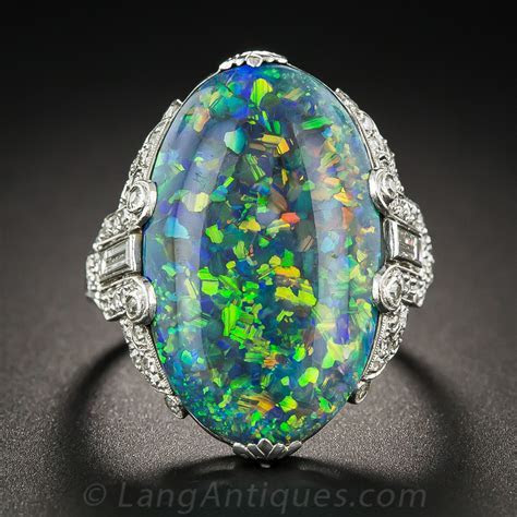 Black Opal and Platinum Diamond Art Deco Ring by Brock & Co.