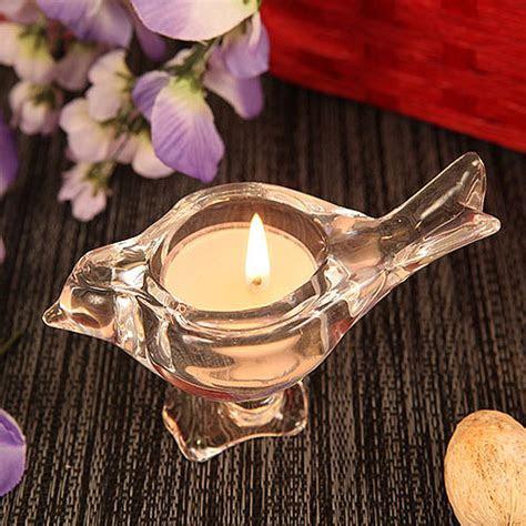 'Love Bird' Bird Shaped Crystallike Glass Candle Holder