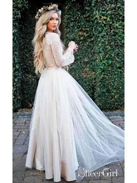 Long Sleeve Lace Top Beach Wedding Dresses With Slit Cheap