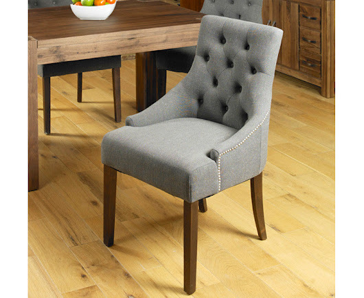 Walnut Accent Upholstered Dining Chair with Wooden Legs (Set of two) - – World Interiors
