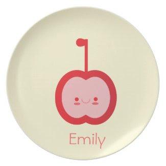 Kawaii Apple - Personalized Kids Plate plate
