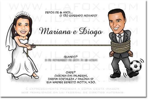 Caricatura colorida, corpo inteiro, casal, noivos, noivinhos, noiva puxando noivo pela corda, caricatura para casamento by ila fox