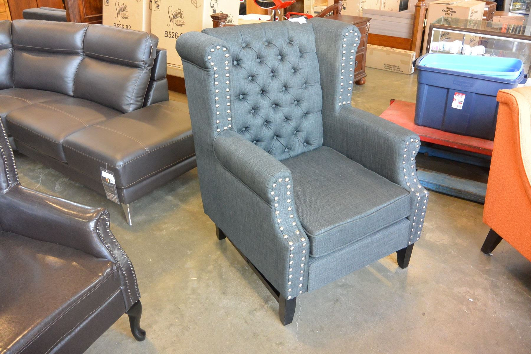 New Ashley Charcoal Accent Chair Modern Tufted With Nail Head