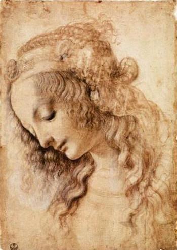 Женская голова - Леонардо да Винчи 1473  Галерея Уффици, Флоренция, Италия