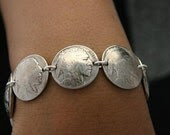 Coins - Vintage Coin Jewelry Buffalo Nickle Bracelet Sterling Silver Links
