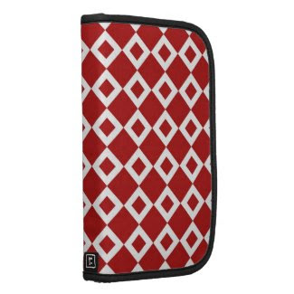 Red and White Diamond Pattern Folio Planner