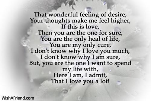 Feeling Of Desire I Love You Poem