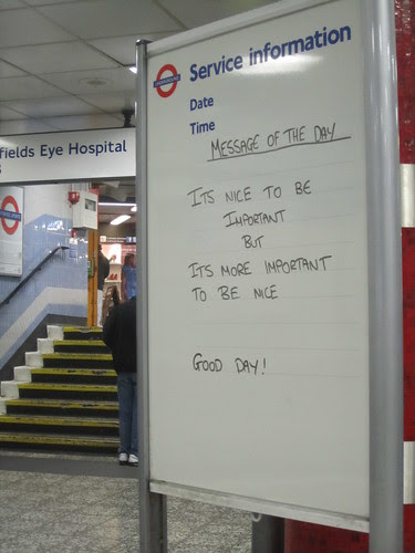 Old Street Tube Message of the Day