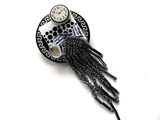 Black and White Collage Pin FREE US Shipping