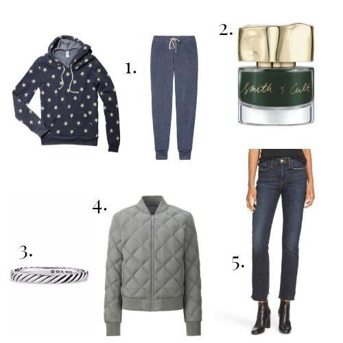 Alternative Apparel Sweats - Smith and Cult Nail Polish - David Yurman Ring - Uniqlo Jacket - Frame Denim Jeans