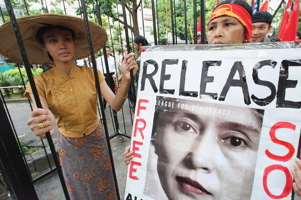 People of Myanmar living in Japan protest demanding the release of Aung San Suu Kyi and the democratization of Myanmar on May 24, 2009 in Tokyo, Japan. Nobel Peace Prize laureate Aung San Suu Kyi has been detained for giving a lodge to an U.S. citizen.
