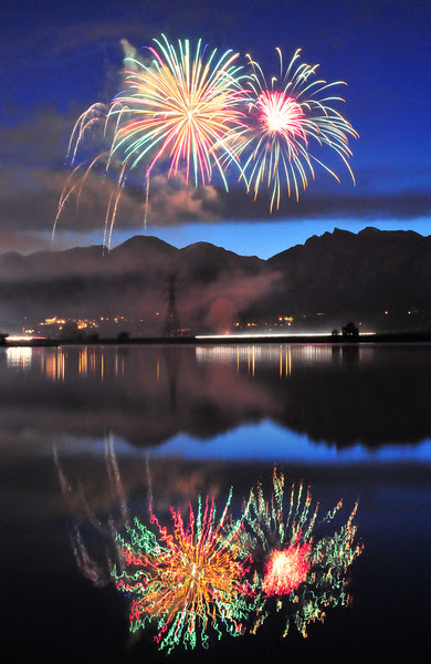 Fireworks over Lake Estes
