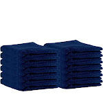 """Puffy Cotton Premium 13"""" by 13"""" Hotel and Bath - Bathing Products to Buy Navy Blue"""