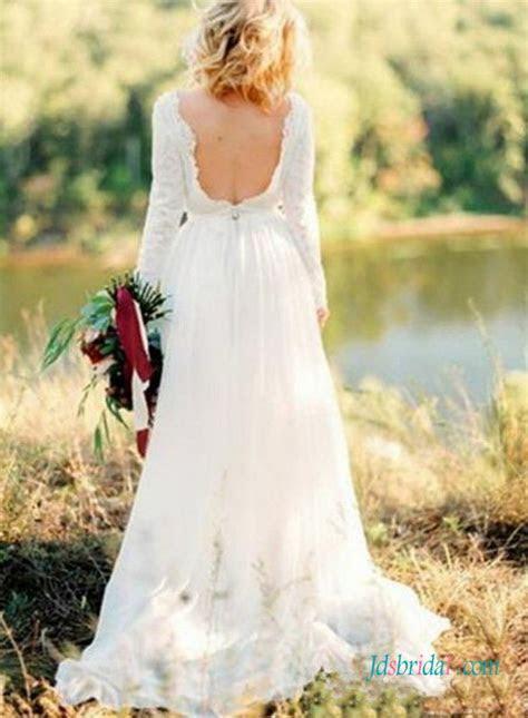 H1378 Sexy open back bateau neck long sleeved boho wedding