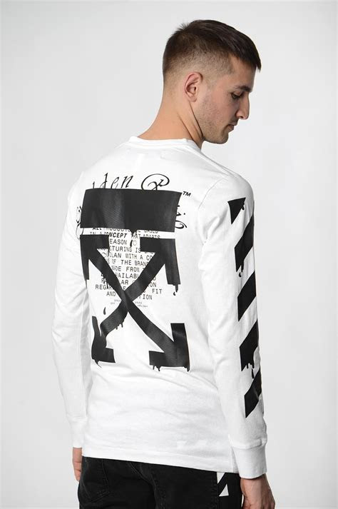 white white dripping arrows ls tee