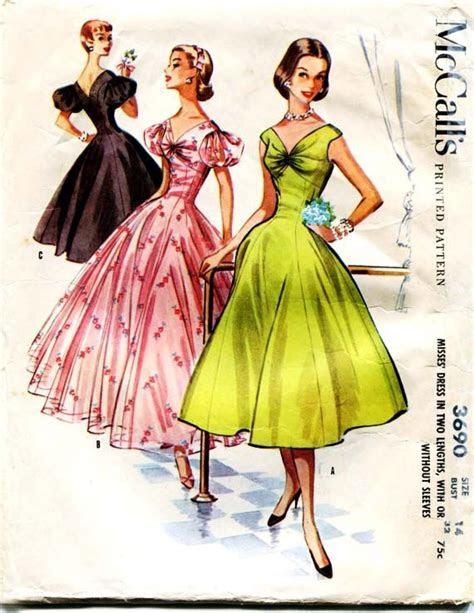 1950s Dress Pattern Vintage McCalls 3690 Stunning Formal