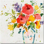 Sheila Golden 'White Vase with Bright Flowers' Canvas Wall Art 35x35