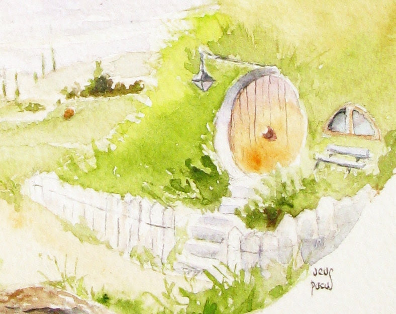 Hobbiton Bag End watercolor green landscape art print - ucuspucus