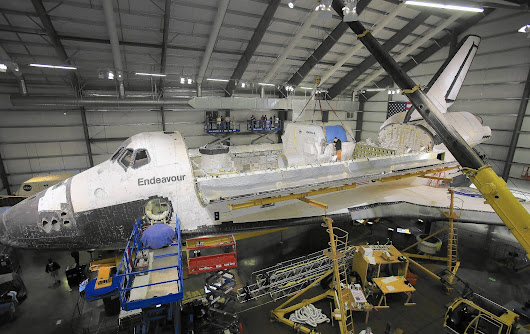 Space shuttle Endeavour inches closer to completion of final exhibit